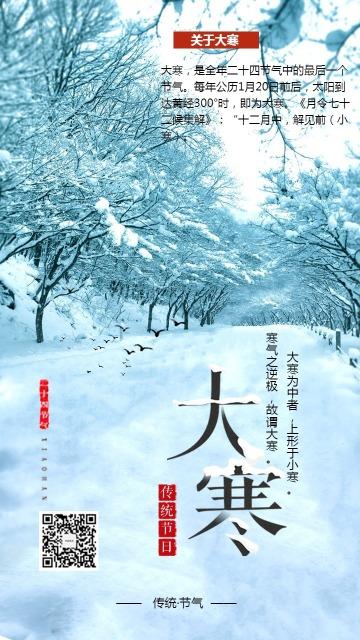 传统节气大寒习俗宣传海报手机版