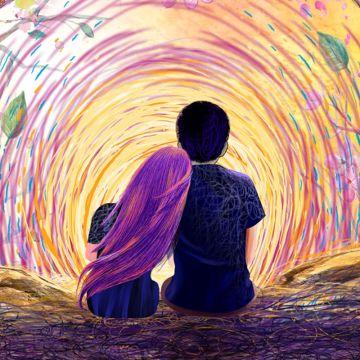 五彩斑斓的夕阳情侣头像