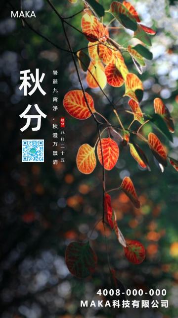 简约大气秋天秋分手机海报模板