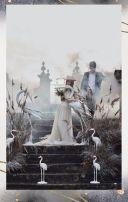 淡雅时尚水彩优雅灰色金色婚礼请柬邀请函喜帖