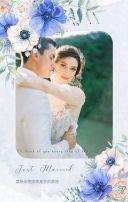 蓝色玫瑰花结婚请柬婚礼邀请函