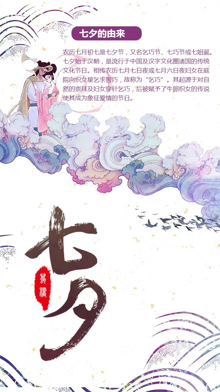 七夕情人节七夕的由来七夕习俗介绍海报