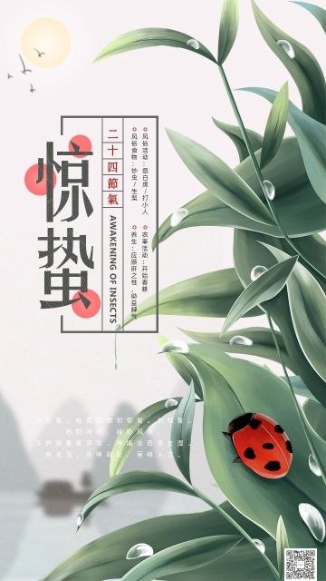 中国传统习俗二十四节气之惊蛰 新中式大自然文艺术古典文化传承风俗民俗推广日签海报