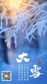 二十四节气大雪蓝色风景海报