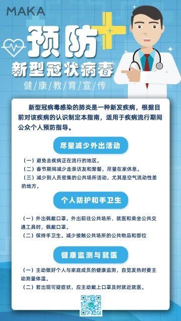 医疗卫生健康关注健康关注新型冠状病毒肺炎医疗知识宣传海报