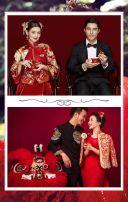 时尚大气红色婚纱照婚礼请柬/时尚婚纱照婚礼邀请函