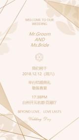 香槟色金色线条时尚婚礼邀请函优美结婚喜帖