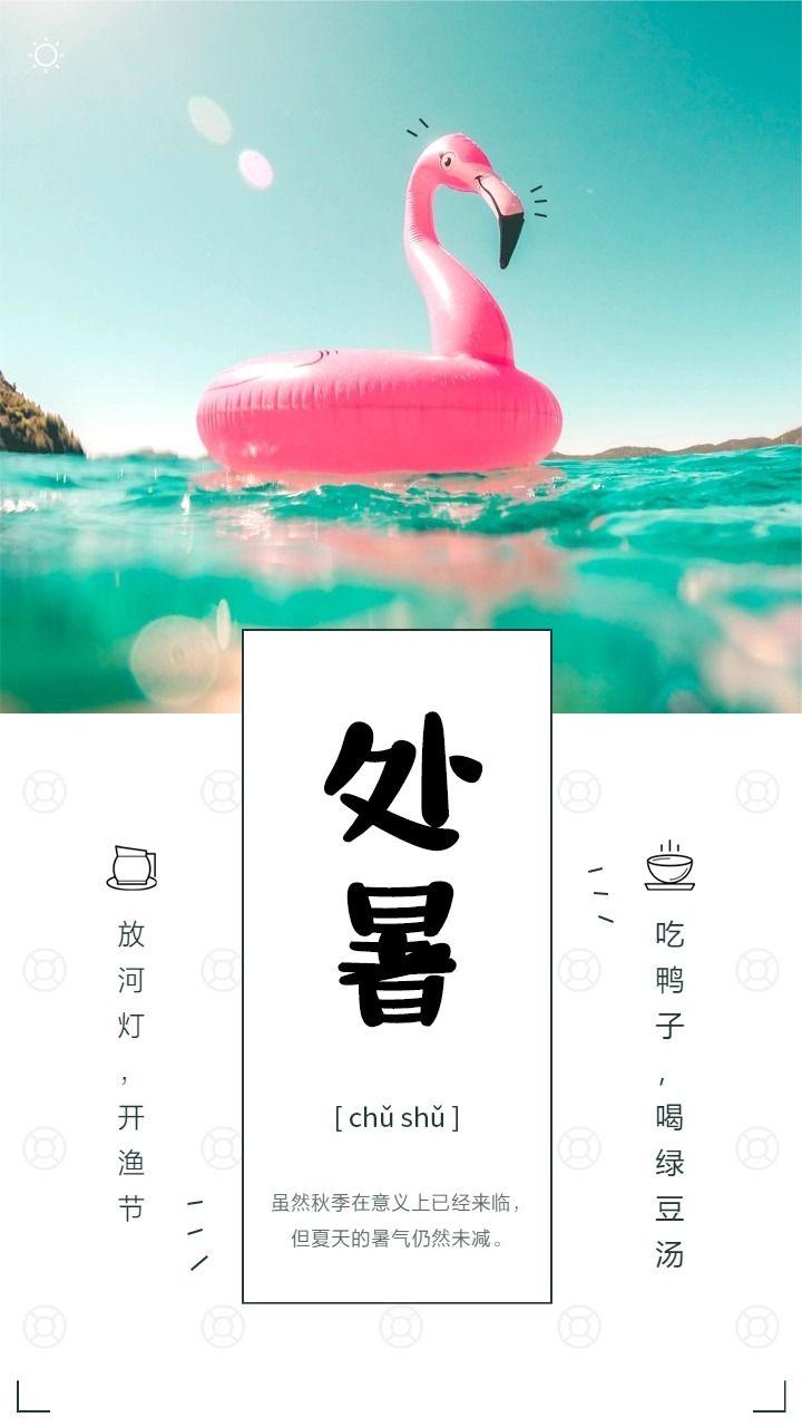 简约清新处暑24节气企业个人日签海报