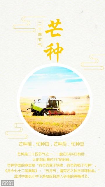 黄色文艺中国传统二十四节气芒种宣传海报