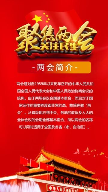 2019两会中国风政府公益宣传海报模板