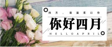 文艺清新你好四月宣传公众号封面头条