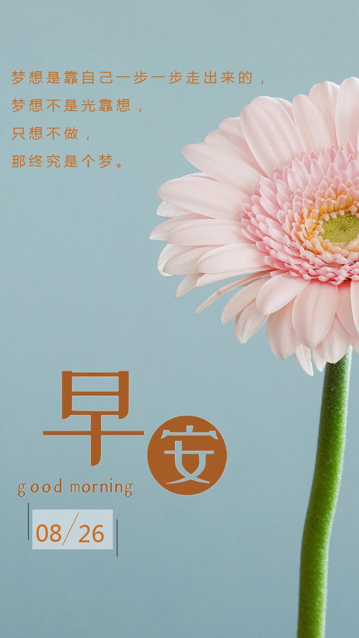 早安励志唯美花朵海报