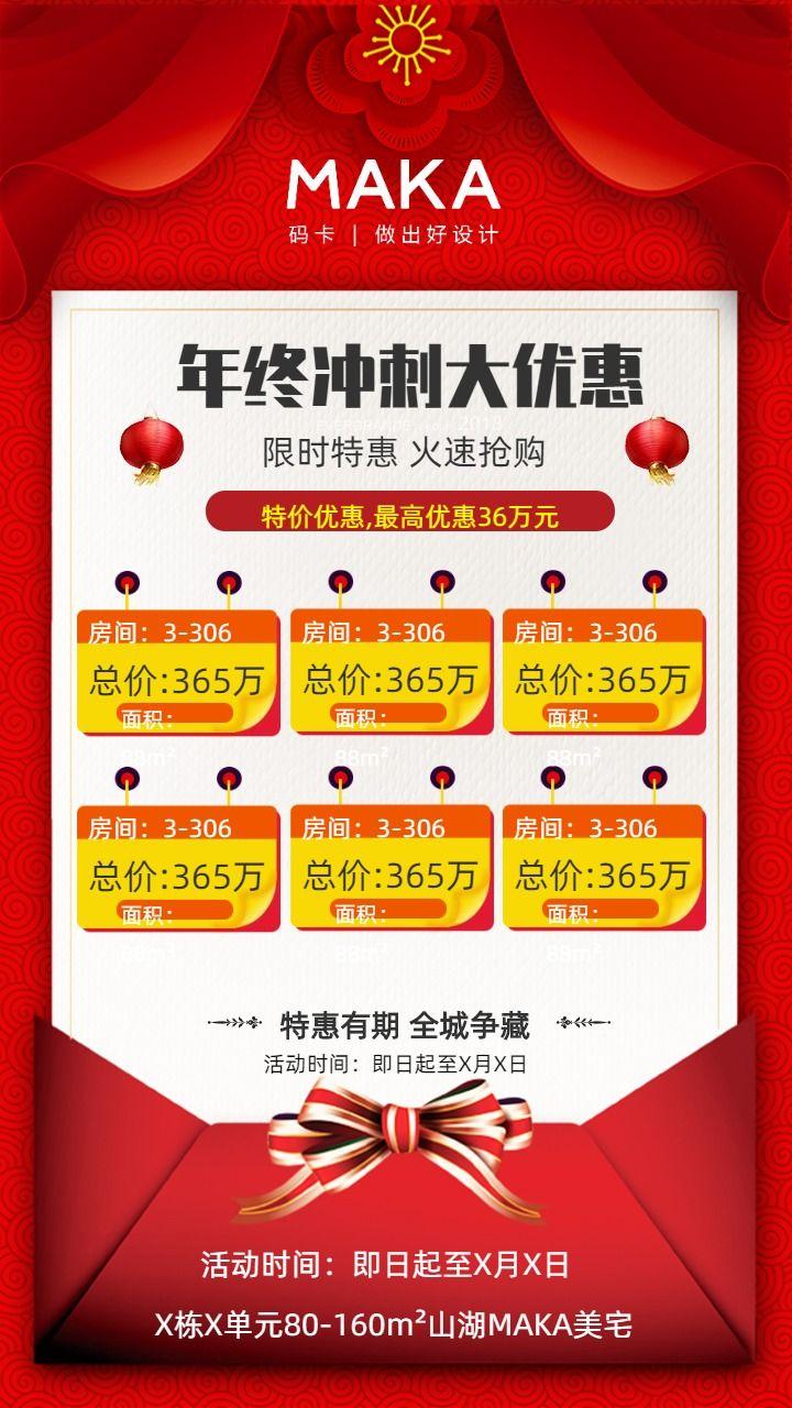 红色促销房地产价格推销海报总价优惠价格标识手机海报