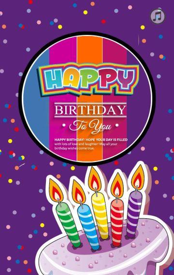 高贵紫色系生日祝福贺卡