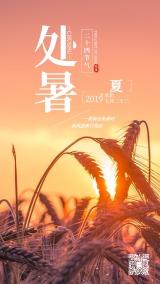 简约创意黄色日出金黄的小麦麦子处暑节气日签心情语录早安二十四节气宣传海报