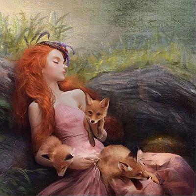 清纯唯美少女和狐狸插画头像