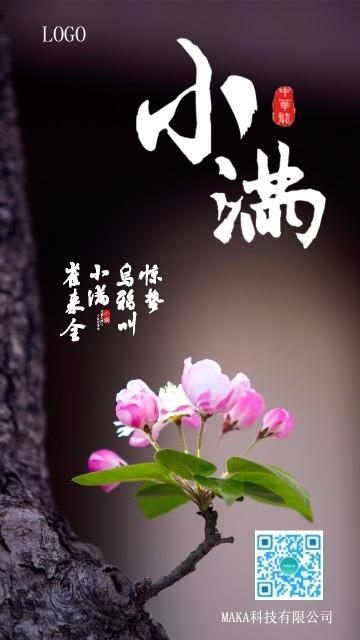 文艺清新二十四节小满手机海报