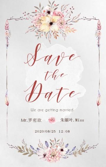 粉色浪漫唯美水彩波西米亚电子婚礼邀请函H5模板