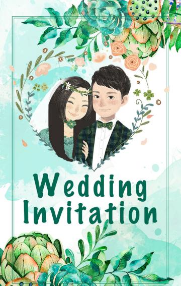 甜美森系婚礼请柬0525 手绘清新马卡龙高端婚礼请柬邀请函