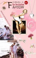 创意时尚高端杂志风简约清新婚礼结婚请柬喜帖请帖邀请函生日新品