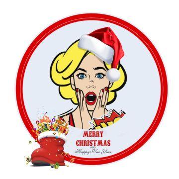 红色卡通圣诞主题元素边框头像适合个性头像社交朋友圈封面