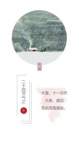 简约清新大雪节气祝福节日签到海报