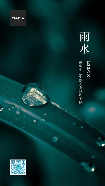 高级意境简约雨水海报
