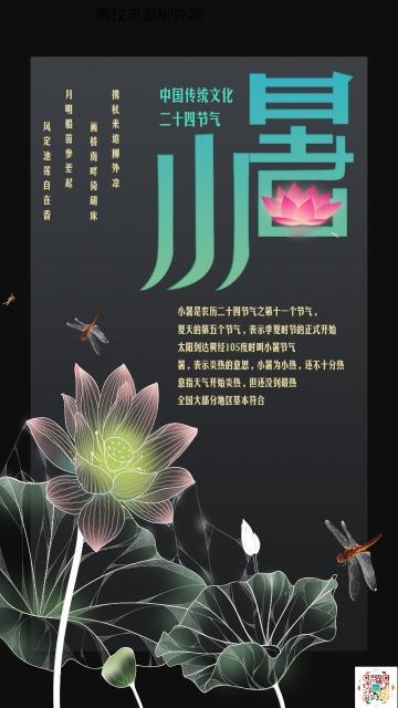 中国风文艺清新红色绿色小暑文化宣传海报