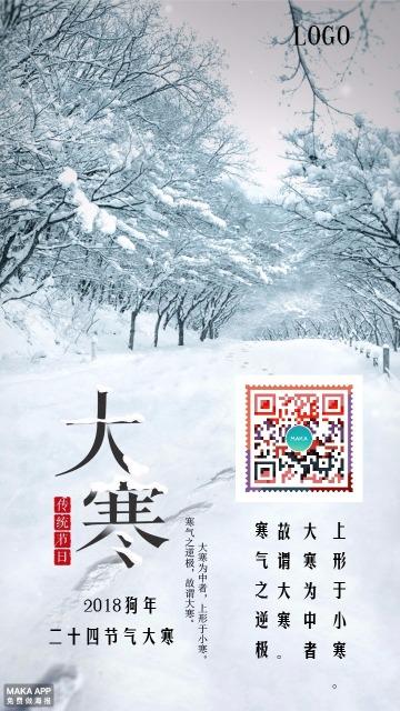 二十四节气大寒心情宣传优惠促销打折海报