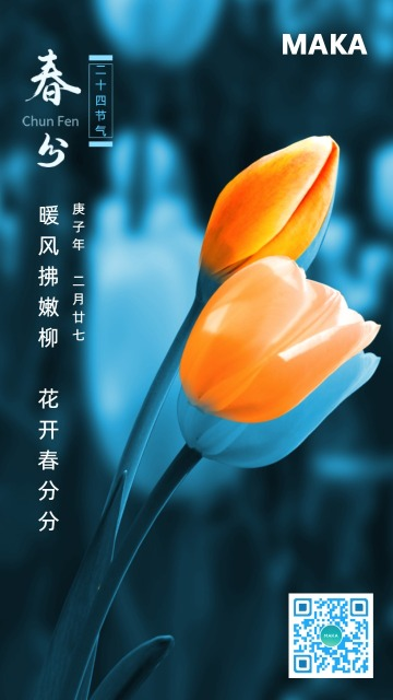 蓝色唯美节春分节气宣传海报