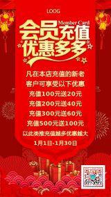 简约会员日周年庆VIP会员卡充值办理优费活动促销打折圣诞元旦年终促销钜惠海报