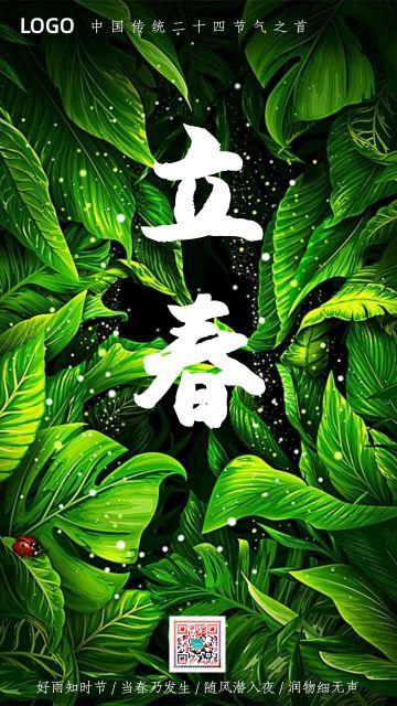 绿色清新立春二十四节气日签宣传海报