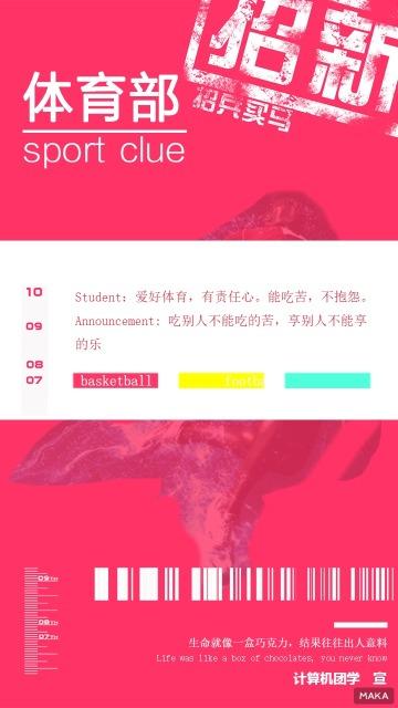 扁平化活力玫红色彩体育部社团招新宣传海报