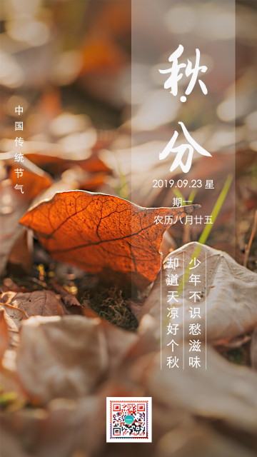 黄色清新简约大气设计风格二十四节气之秋分宣传海报