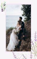 灰紫色高级紫马卡龙色系薰衣草葡萄元素婚礼请柬邀请函