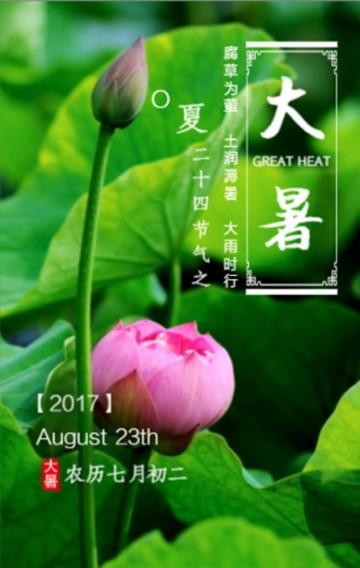 大暑节气中国风古风荷花绿色节气宣传防暑小知识