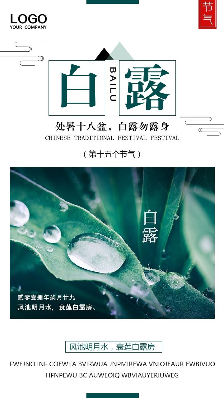唯美白露节气企业宣传品牌推广祝福海报