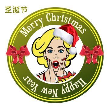 红绿色圣诞主题卡通插画风边框头像适合社交生活个性头像社交朋友圈封面