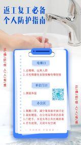 武汉疫情企业商家开业开工复产复工返岗返工必备个人防疫防控防护指南宣传海报