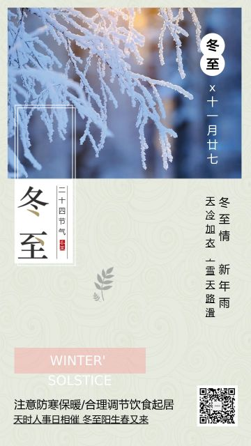 文艺清新冬至节气传统海报