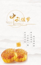 白色简约中秋节月饼微商电商展示促销活动H5
