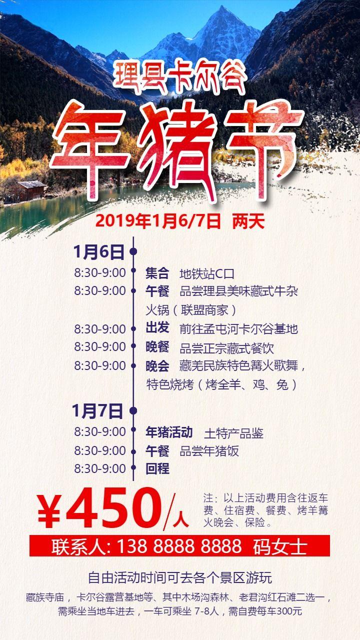 年猪节理县特色节日旅游海报