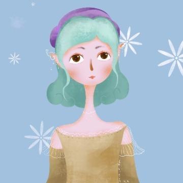 蓝色雪中精灵扁平人物插画