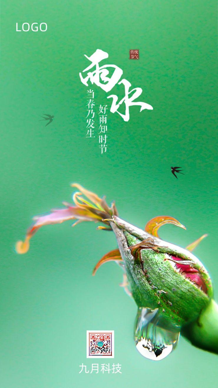 小清新绿色雨水节气宣传海报