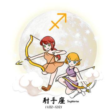 卡通手绘星球和射手女孩唯美射手座朋友圈社交微信头像