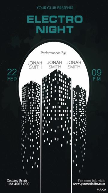 黑色城市剪影简洁酒吧夜店派对音乐会活动宣传海报