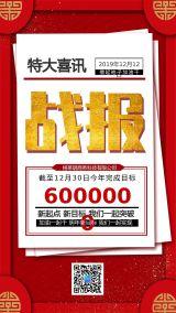 年底企业战报简约风喜讯励志海报宣传