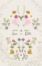 手绘复古花卉小清新自然可爱婚礼邀请函请假