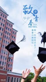 清新时尚致青春毕业季海报模板