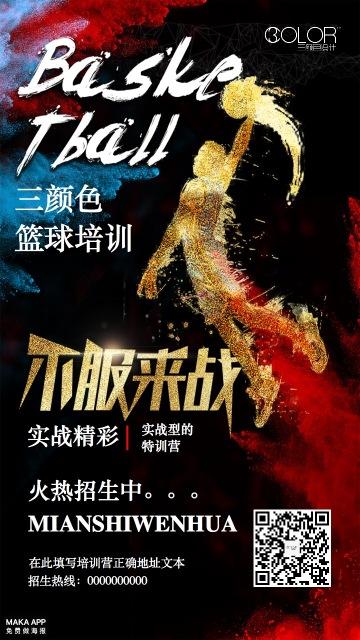 篮球培训招生宣传海报(三颜色设计)